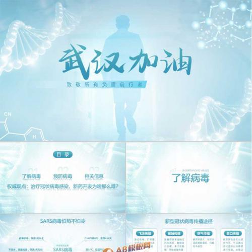 蓝色简约设计武汉加油新型冠状病毒预防知识宣传PPT模板
